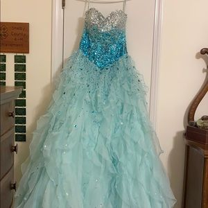 Blue sequenced prom dress